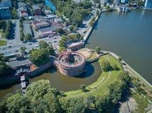 Widok z lotu ptaka bursztyn w Kaliningrad muzeum Dohna wierza, teraz, Rosja fotografia royalty free