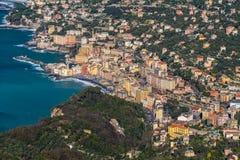 Widok z lotu ptaka Camogli, miasteczko blisko genuy Liguria, Włochy obraz royalty free