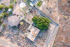 Widok z lotu ptaka Capernaum, Galilee, Izrael Zdjęcia Royalty Free