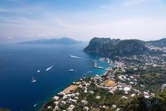 Widok z lotu ptaka Capri wyspa zdjęcia stock