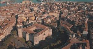 Widok z lotu ptaka Castello Ursino w Catania, Sicily, południowy Włochy zdjęcie wideo