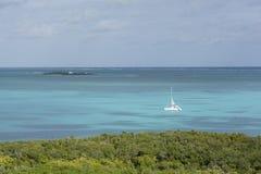 Widok z lotu ptaka catamaran w karaibskim Obrazy Royalty Free
