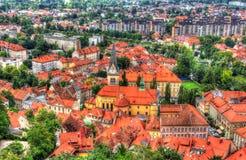 Widok z lotu ptaka Cerkev Sv Jakoba w Ljubljana Fotografia Stock