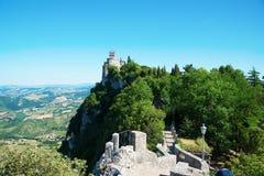Widok z lotu ptaka Cesta i Montale na falezie ostrzymy na górze obrazy stock