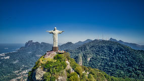 Widok z lotu ptaka Chrystus Rio De Janeiro miasto i odkupiciel Obraz Royalty Free