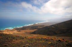 Widok z lotu ptaka Cofete półudniowy-zachód i plaży wybrzeże Fuerteventur Fotografia Stock