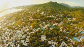 Widok z lotu ptaka Coron miasto z slamsami i biednym okręgiem PALAWAN Bu Obraz Stock