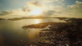 Widok z lotu ptaka Coron miasto z slamsami i biednym okręgiem PALAWAN Bu Fotografia Stock