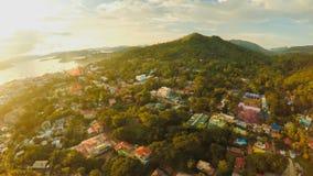 Widok z lotu ptaka Coron miasto z slamsami i biednym okręgiem PALAWAN Bu Obrazy Stock