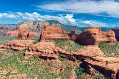 Widok z lotu ptaka czerwieni skały jary w Sedona, Arizona Fotografia Stock