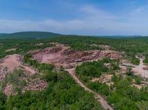 Widok z lotu ptaka Czerwona Granitowa pasek kopalnia Obraz Royalty Free