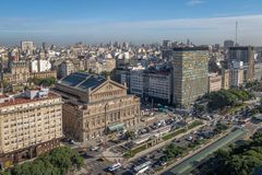 Widok z lotu ptaka 9 De Julio Aleja, Buenos Aires -, Argentyna obrazy stock
