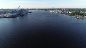 Widok Z Lotu Ptaka Delaware rzeka blisko Walt Whitman mostu Filadelfia bydło - Nowy - zdjęcie wideo