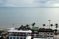 Widok z lotu ptaka domy blisko Jomtien plaży linii brzegowej w Pattaya, Tajlandia Fotografia Royalty Free