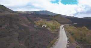 Widok z lotu ptaka droga Wspinać się Etna zbiory