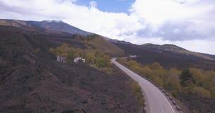 Widok z lotu ptaka droga Wspinać się Etna Mungibeddu lub Mongibello jest aktywnym stratowulkanem zbiory