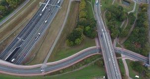 Widok z lotu ptaka drogi, park przemys?owy w Dordrecht, holandie zdjęcie wideo