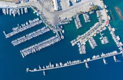 Widok z lotu ptaka duży jachtu marina Obraz Stock