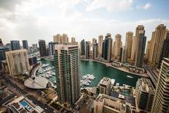 Widok z lotu ptaka Dubaj Marina linia horyzontu obrazy stock