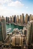 Widok z lotu ptaka Dubaj Marina linia horyzontu zdjęcia royalty free