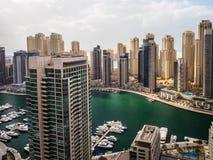 Widok z lotu ptaka Dubaj Marina linia horyzontu fotografia stock