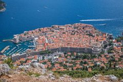 Widok z lotu ptaka Dubrovnik Stary Grodzki fort fotografia stock