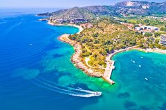 Widok z lotu ptaka Dubrovnik szmaragdowa linia brzegowa w Srebreno zdjęcie royalty free