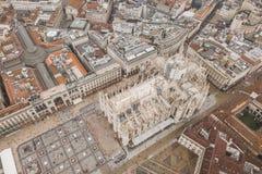Widok z lotu ptaka Duomo di Milano obraz stock