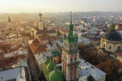 Widok z lotu ptaka dziejowy centrum Lviv, Ukraina UNESCO zdjęcia stock