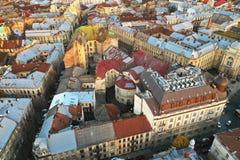 Widok z lotu ptaka dziejowy centrum Lviv, Ukraina UNESCO zdjęcie stock