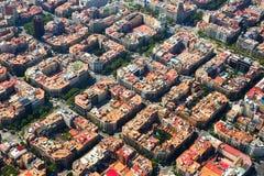 Widok z lotu ptaka Eixample okręg w Hiszpanii fotografia royalty free