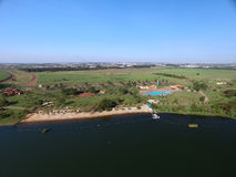 Widok z lotu ptaka Ekologiczny park w Sertaozinho mieście, Sao Paulo, Brazylia obrazy stock