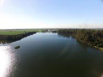 Widok z lotu ptaka Ekologiczny park w Sertaozinho mieście, Sao Paulo, Brazylia obraz stock