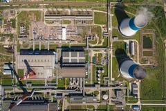 Widok z lotu ptaka elektrownia Zdjęcie Stock