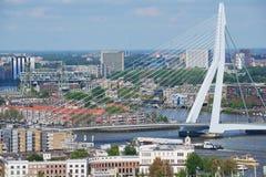 Widok z lotu ptaka Erasmus most i miasto Rotterdam, holandie Obrazy Royalty Free
