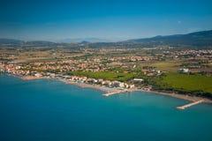 Widok z lotu ptaka etrusku wybrzeże, Włochy, Tuscany, Cecina Obraz Stock