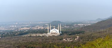 Widok z lotu ptaka Faisal meczet Islamabad obraz royalty free