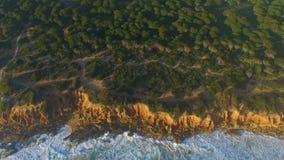Widok z lotu ptaka faleza i morze z fala zbiory wideo