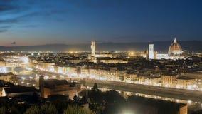 Widok z lotu ptaka Florencja, Włochy przy zmierzchem Katedralny Santa Maria zbiory