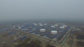 Widok z lotu ptaka fo oleju stacja pomp Skroplony gaz naturalny wioska arktyki, Rosja zbiory wideo