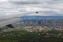Widok z lotu ptaka Frankfurt główny miasto - Am - Zdjęcie Royalty Free