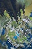 Widok z lotu ptaka futurystyczny miasto, ilustracja Obrazy Royalty Free
