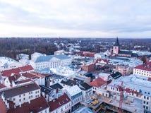 Widok z lotu ptaka główny budynek uniwersytet Tartu Zdjęcie Stock