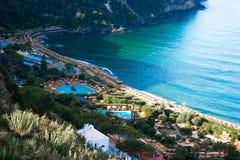 Widok z lotu ptaka Giardini Poseidon Terme, Ischia, Włochy Obrazy Stock