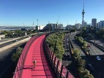 Widok z lotu ptaka godzina szczytu kupczy na Auckland centrali autostradzie obrazy royalty free