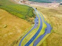 Widok z lotu ptaka granica między i Szkocja znak Szkocja i Anglia z ampuła kamieniem - Zjednoczone Królestwo zdjęcie stock