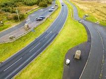 Widok z lotu ptaka granica między i Szkocja znak Szkocja i Anglia z ampuła kamieniem - Zjednoczone Królestwo obrazy royalty free