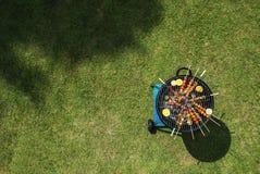 Widok z lotu ptaka grillów stki na węglach drzewnych piec na grillu Obrazy Stock