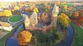 Widok z lotu ptaka Grodowy Linn w jesieni Krefeld, Niemcy - zbiory