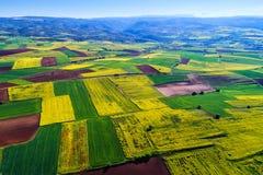 Widok z lotu ptaka grunt rolny z kwitnieniem w północnym Greec Obrazy Stock